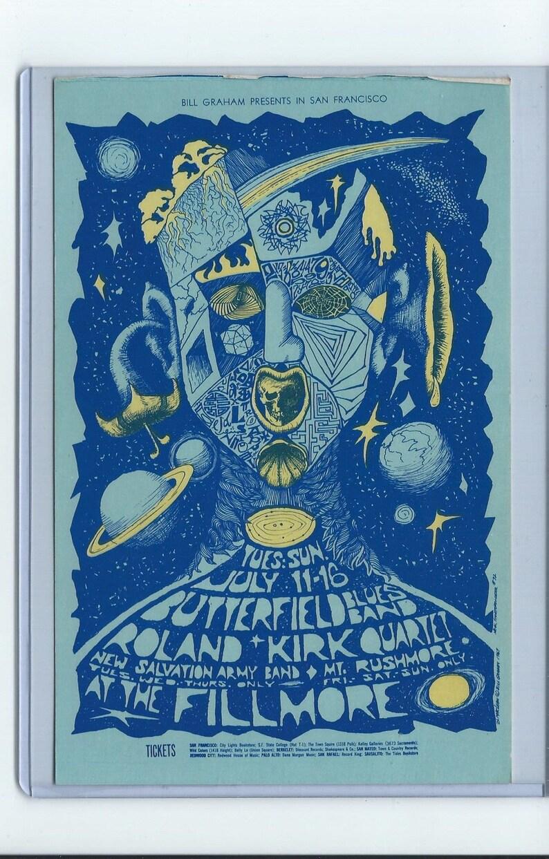 Bill Graham Presents Art rock vintage postcard Butterfield Blues Band  Fillmore Mt Rushmore