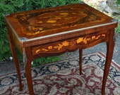 1900s Antique French Louis XV Walnut and Satinwood Inlaid Flip top Game Table