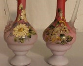 Vintage Bohemian Harrach stained Pink Glass Small Hand Painted Vases