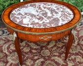 19th century Antique French Louis XVI Walnut satinwood marble top Side table