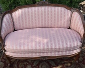 1920s French Louis XV Carved Mahogany small Love-seat Sofa , spring seat