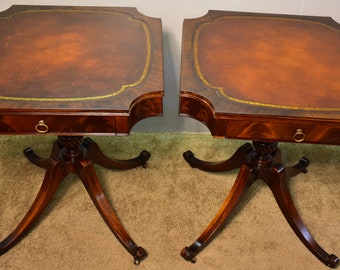 great pair of regency style mahogany weiman leather top side end tables - Antique Mahogany End Tables