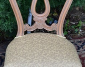 1920s Antique French Louis XV Ladies vanity Desk Chair Hand Painted Mayogany