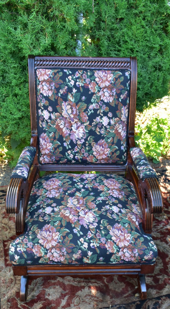 Fantastic 19Th Century Antique Victorian Eastlake Mahogany Rocking Chair New Upholstery Short Links Chair Design For Home Short Linksinfo