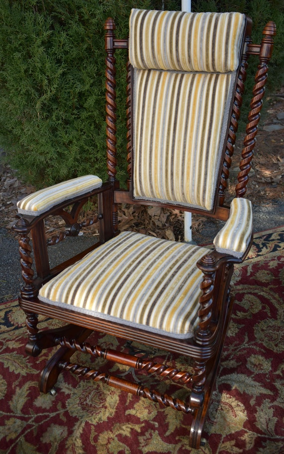 Outstanding 1880S George Hunzinger Barley Twist Walnut Platform Rocker Rocking Chair Gmtry Best Dining Table And Chair Ideas Images Gmtryco