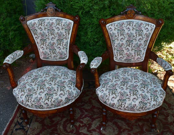 Brilliant 19Th Century Antique Victorian Eastlake Walnut Pair Arm Chairs New Upholstery Short Links Chair Design For Home Short Linksinfo