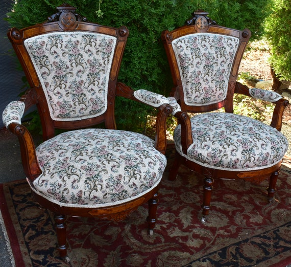 Outstanding 19Th Century Antique Victorian Eastlake Walnut Pair Arm Chairs New Upholstery Short Links Chair Design For Home Short Linksinfo