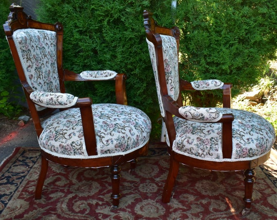 Peachy 19Th Century Antique Victorian Eastlake Walnut Pair Arm Chairs New Upholstery Short Links Chair Design For Home Short Linksinfo