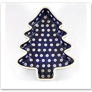 Hand Painted Ceramic platter polish stoneware Boleslawiec vintage platter rustic Bunzlau pottery Christmas gift Christmas tree platter