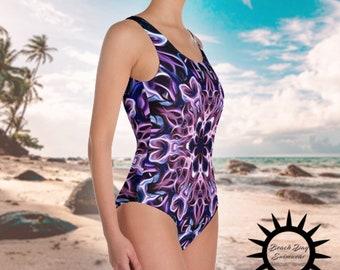 63d8dcb4780f7 Psychedelic Purple Mandala, Classic Bathing Suit, One-Piece Swimsuit,  Swimwear, Women's Swimwear, One Piece Bathing Suit, Women's Swimsuit
