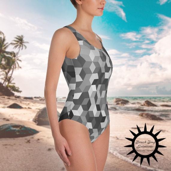 swimwear, one piece swimsuit, black and white, black, white