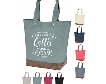 Fueled By Coffee and Christmas 100/% Cotton Tote Funny Holiday Bag