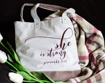 Proverbs 31 canvas leather tote bag, purse shoulder messenger, she is strong, proverbs 31 woman, bible verse