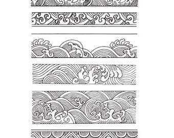 Ocean Stamp Waves Water Border Decorative Clear Sheet