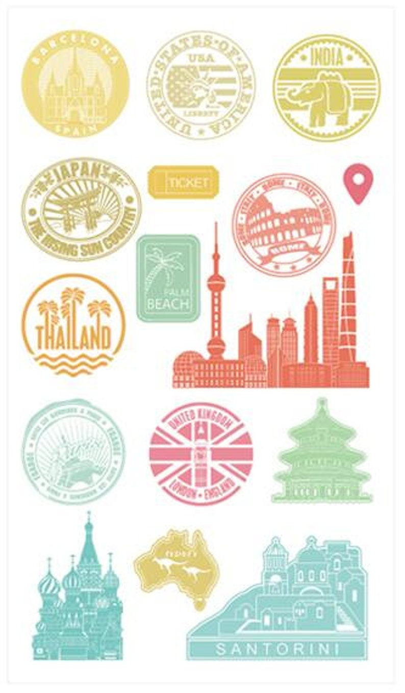 Set of 4 Travel Stamps Travelling Stamp Set of 4 Clear Stamp Sheets