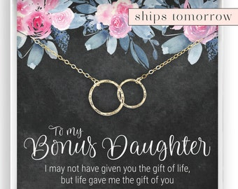 Bonus Daughter Gift Step Stepdaughter Necklace Jewelry Birthday In 14kt Gold Filled Rose Silver