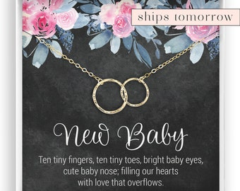 Mom And Baby Necklace Shower Gift For To Be New Push Present 14kt Gold Filled Rose Sterling Silver