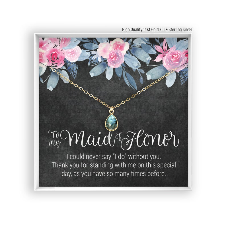 Maid Of Honor Thank You Necklace Proposal Box Dainty Etsy