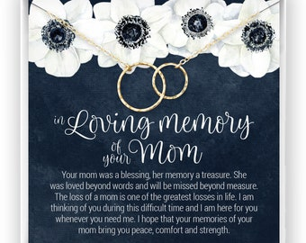 Loss of Mother Gift, Grief Gift, Sympathy Gift, Mom Remembrance Necklace, Mother Memorial Gift, Bereavement Keepsake, Eternity Circles