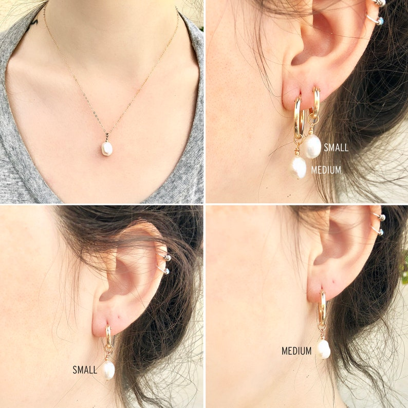 Wedding Gift from Bride Pearl Necklace and Earrings Set Sister Wedding Gift Sister of the Bride Necklace Set 14kt Gold Fill Rose Silver