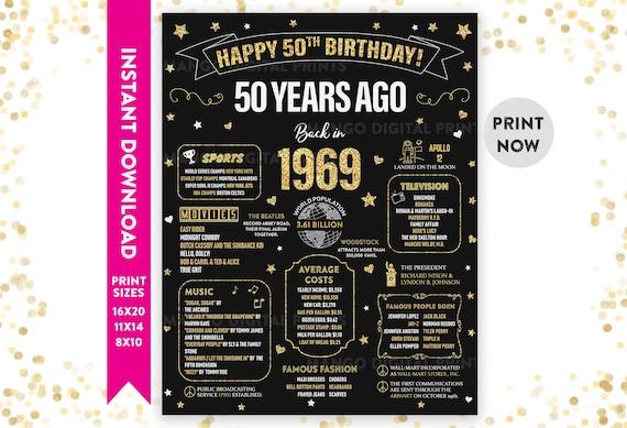 1969 50th Birthday Sign Gift for Women Men 50th Birthday Chalkboard