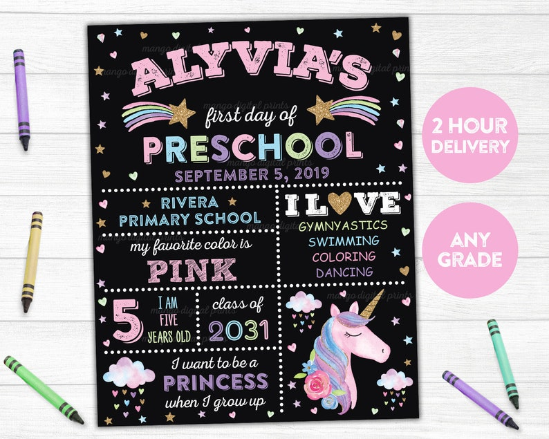 First Day of Preschool Sign Printable First Day of School Sign image 0