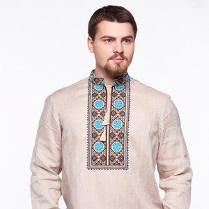 Gift for Christmas Mother\u2019s Day giftsLinen Shirt Ukrainian Vyshyvanka Men/'s embroidered shirt Traditional Ukrainian shirts Gift for Him