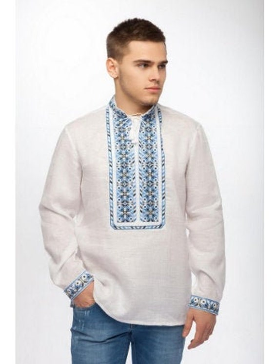 Men/'s embroidered shirt Traditional Ukrainian shirts with collar Ukrainian vyshyvanka