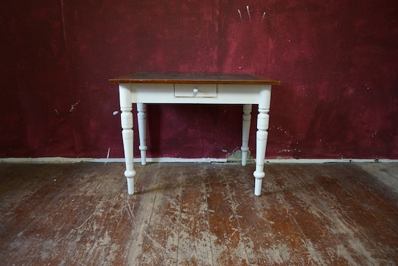 Antique Kitchen Table Drawer Art Nouveau Founding Period Vintage Softwood Shabby