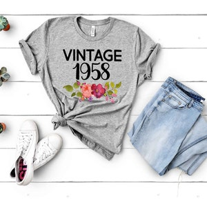 Vintage 1958 Shirt 60th Birthday Gifts For Women T Gift Tee