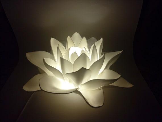 White Lotus Flower Lamp Ooak As Wedding Decor Night Light Lamp Etsy