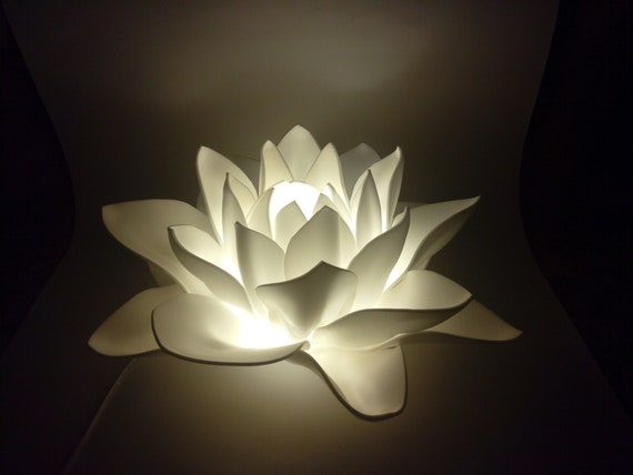 Floor Lamp 2 Flowers White Lotus Flower