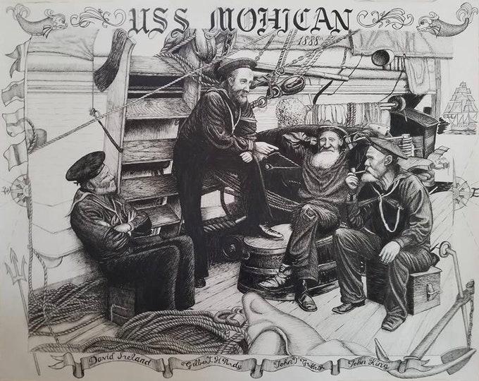 USS MOHICAN Historic Navy Art - Navy Print - US Navy Art -Vintage Navy Sailor - Navy Sailor Art - Ink Drawing - Navy Sailor -Navy retirement