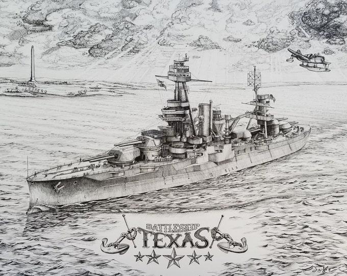 The Battleship Texas -print of a Pen and Ink drawing, US Navy, Dreadnought, ship art, Navy art, Man Cave, Navy decor, Navy wall art