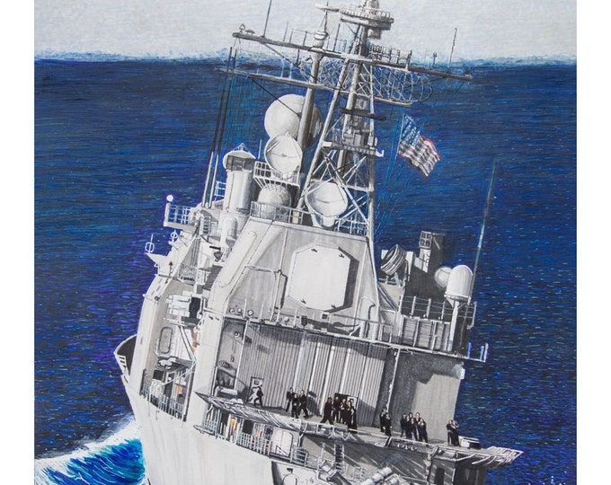 TICO - Ship at sea - Navy sailor art - Navy Christmas gift - Navy ship art - US Navy cruiser - Navy retirement gift - Navy Chief -