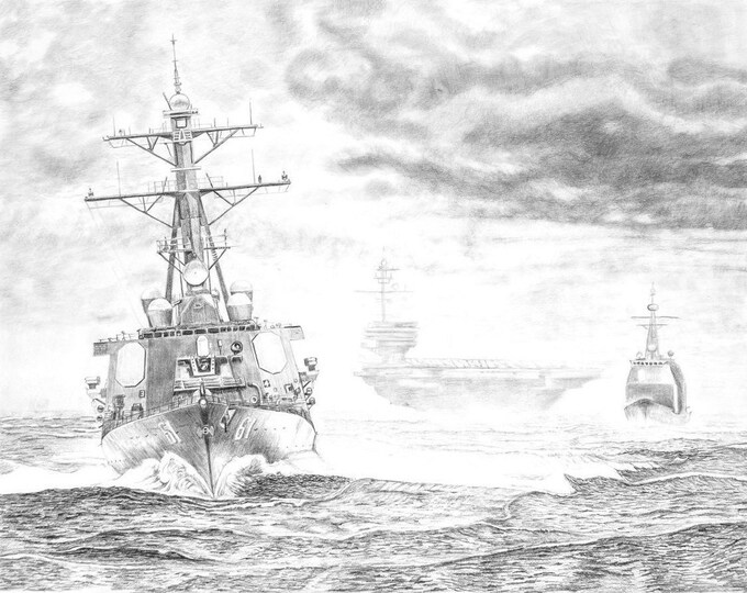 HAZE GREY- US Navy Ship Art - Navy Destroyer - Navy art pencil - Navy Print - Navy retirement gift - Ship at Sea - Navy History - Navy Chief