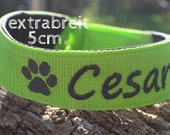 Adjustable dog collar, extra wide (5 cm), customizable, padded, washable, click closure, custom made, for large dogs