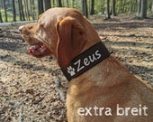 Adjustable quick-release collar (extra wide 5 cm) with the name of your dog