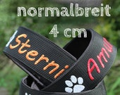Train stop collar (wide - 4 cm) with the name of your dog