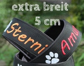 Train stop collar (extra wide - 5 cm) with the name of your dog