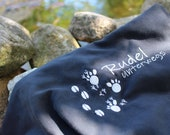 """Large paw towel """"pack on the way"""", microfiber, dog towel, outdoor towel, camping, hiking, dog paws"""