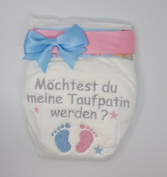 Smetterlinge Bestickte Windel Patentante//Patenonkel Taufpatin//mit