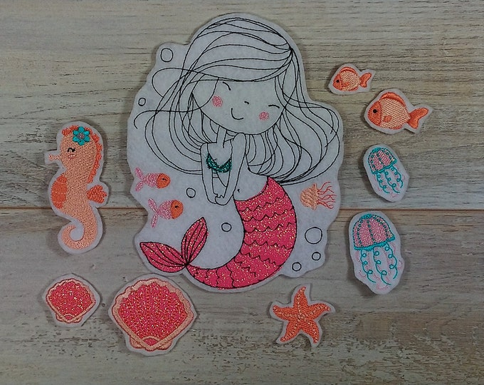 Application for sewing and ironing on Embroidery application Mermaid Coral Set Mermaid Coral Set