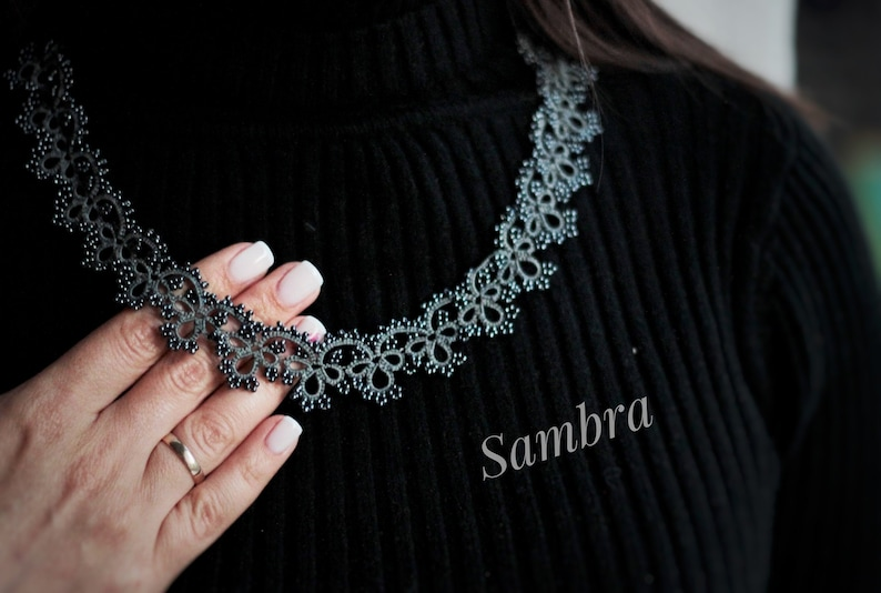 necklace for women with beads Grey knit collar fashion necklace