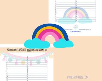 Bucket list printable A4 daily tracker organize wall art goalsetting PDF digital download full color beautiful feminine design life planner