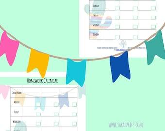 Homework calendar printable A4 organize wall art goalsetting PDF digital download full color daily tracker life planner beautiful feminine