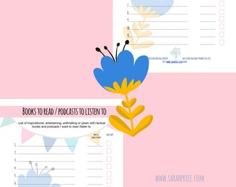 Books to read / podcasts to listen to printable A4 organize wall art goalsetting PDF digital download full color daily tracker life planner