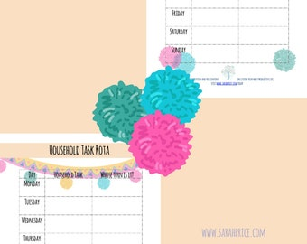 Household task rota printable A4 organize wall art goalsetting PDF digital download full color daily tracker life planner growth mindset