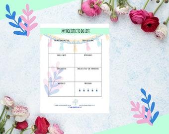 Holistic alternative daily tracker printable A4 organize wall art goalsetting PDF digital download full color life planner feminine design