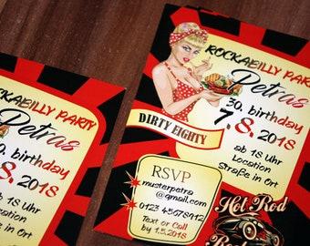 be08003cade8de Einladung Geburtstag • Rockabilly